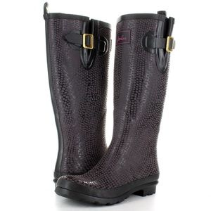 Joules Tall Nessie Wellies rain boots textured